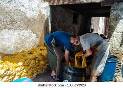 Fès, Fès-Meknès/Morocco - 08162011: Craftsmen in the Medina working traditional handycrafts