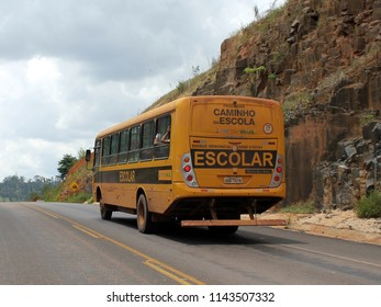 "Rurópolis/Pará/Brasil - 08/29/2016: Bus of the ""Caminho da Escola"" program of the federal government of Brazil, which transfers the vehicles to municipal governments for the transportation of studen"