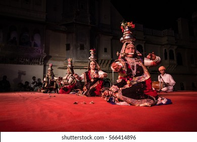 09 Apr 2016, Udaipur, Rajasthan, India: Rajasthani folk dancers are performing Teratali dance as part of Gangaur festival celebrations.