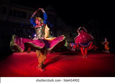 09 Apr 2016, Udaipur, Rajasthan, India: Rajasthani folk dancers are performing Chakri dance as part of Gangaur festival celebrations.