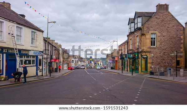 09 June 2019 - Lanark, Scotland: Lanark city center