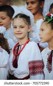 09/01/2016. Ukraine, the city of Dneprodzerzhinsk, a school. First-graders in Ukrainian national costumes came to school on the first day of school. September 1. Day of knowledge.