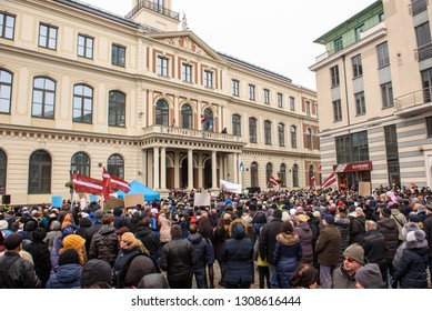 09.02.2019. RIGA, LATVIA.  `Support` meeting, expressing support for Nils Usakovs, Mayor of Riga city council, whose office and home were recently raided by anti-corruption officers.
