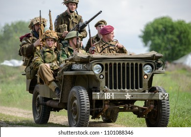 09.04.2018 Kiev, Ukraine, British soldiers SAS ride on an American jeep to the line of contact with the enemy. Reconstruction of the events of the Second World War