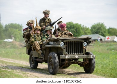 09.04.2018 Kyiv, Ukraine, British SAS soldiers on American jeep ride to the line collision with the Germans. Reconstruction of the events of the Second World War