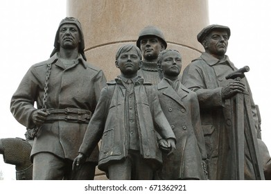 """09.06.2013. The Town Of Khanty-Mansiysk. Monument -monument """"Ugra diverse Affairs of great inspiration going forward. Fragment."""