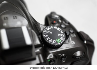 09.10.2018 Close up of DSLR photo camera mode functional dial