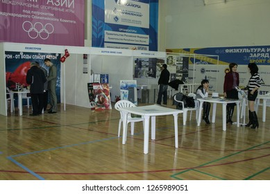 09.11.2008, Yakutsk, Russia. a group of people at an exhibition dedicated to metal structures.