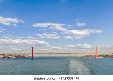 09.11.2018. Lisbon, Portugal. Ponte 25 de Abril / 25th April bridge crossing the river Tagus, commemorating the Portuguese Carnation Revolution of 25 April 1974, Lisbon Portugal