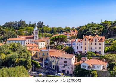09.11.2018, Lisbon, Portugal. View of Sintra town showing the towered council building from the royal palace, Sintra Portugal