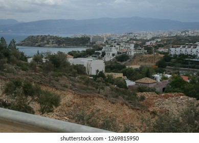 09.20.2008, Hersonissos, Crete, Greece. Landscape of the hills and ancient ruins.