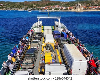 09.20.2018 - Ouranopolis / Greece: Pilgrimage of believers by ferry to Mount Athos. Beautiful sunny, clear day.