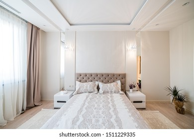 09/20/2019, Uzhhorod, University Street. Design of a new room in a new building. Designer repair of the apartment. Vintage bed in a bright room