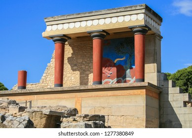 09.23.2008, Hersonissos, Crete, Greece. Travel around Europe by car. An ancient ruins of Greek Knossos palace and group of tourists.
