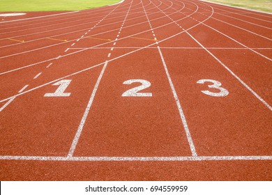1 2 3 number, start or finish position  on race track in football stadium.