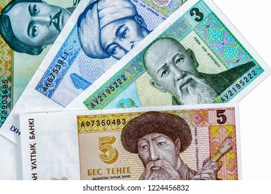 1, 3, 5, 10, Tenge Kazakh  banknote. Kazakhstan Tenge is the national currency of  Kazakhstan. Close Up UNC Uncirculated - Collection.