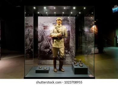 1 Aug 2017 Turkish Commander Mustafa Kemal Pasha's wax sculpture in Canakkale legend promotion center. Gallipoli, Turkey