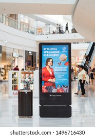 1 Aug 2019, Poznan, Poland, Digital media screen modern panel, signboard for advertisement design in a shopping centre, gallery with blurred background, digital kiosk.