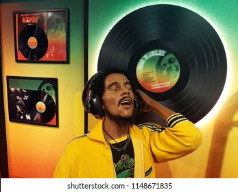 1 August 2018, Madame Tussauds Wax museum in Amsterdam, the Netherlands, Europe. Wax figure of  Bob Marley.
