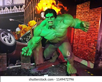 1 August 2018, Madame Tussauds Wax museum in Amsterdam, the Netherlands, Europe. Wax figure of fictional superhero Hulk.