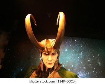 1 August 2018, Madame Tussauds Wax museum in Amsterdam, the Netherlands, Europe. Wax figure of Loki fictional character from American comic books.