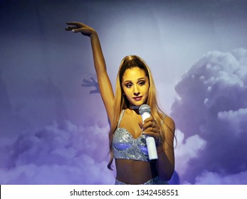 1 August 2018, Madame Tussauds Wax museum in Amsterdam, the Netherlands, Europe. Wax figure of  Ariana Grande, is an American singer, songwriter and actress.