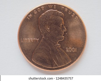 1 cent coin money (USD), currency of United States