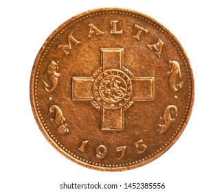 1 Cent (George Cross) coin, 1972~2007 (Lira) Circulation serie, Bank of Malta. Reverse, issued on 1972. Isolated on white