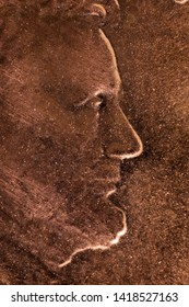 1 cent, one dime Abraham Lincoln face profile portrait super macro 5x Close-up detail on a United States 1 c coin