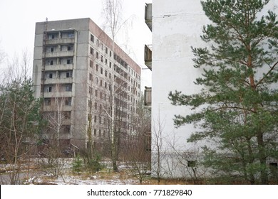 1 December 2017. Chernobyl, UKRAINE. Apartment block in the city of Pripyat - 'The city of ghosts' just 3 kilometers from Chernobyl nuclear power plant,