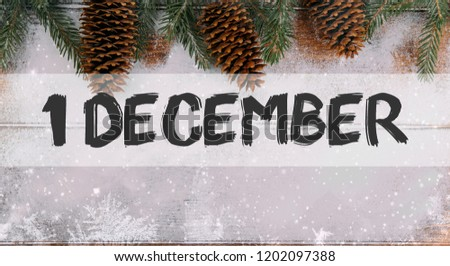 1 december text winter new year background
