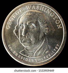 1 dollar coin. 1st President of the United States of America