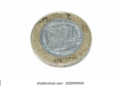 1 euro coin isolated on white background
