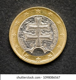 1 euro coin money (EUR) currency of European Union Slovakia over black background