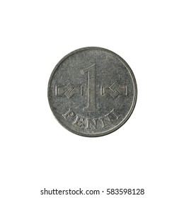 1 finnish penni coin (1970) obverse isolated on white background
