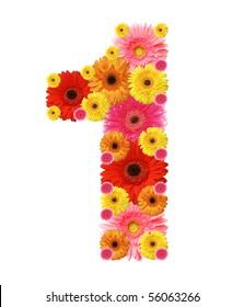 1, flower alphabet isolated on white