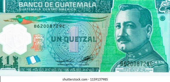 1 Guatemalan quetzal. Quetzal is the national currency of Guatemala, Close Up UNC Uncirculated - Collection.