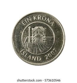 1 icelandic krona coin (2007) reverse isolated on white background