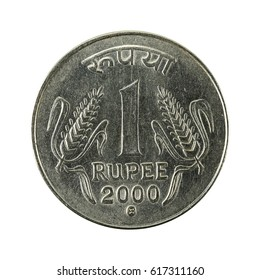1 indian rupee coin (2000) obverse isolated on white background