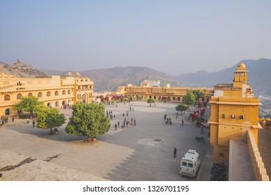 1 Jan 18 : Travellers walking around Amber Palace, Jaipur , Rajasthan - India