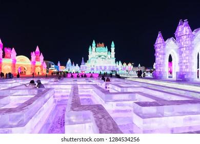 1 JAN 19 : Ice Sculpture at China Harbin Ice And Snow World festival, Harbin, Helongjiang - China