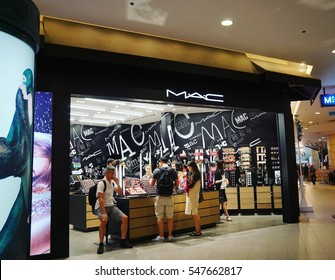 1 JAN 2017 Bangkok Thailand crowd of people shopping at MAC Cosmetics store int he mall
