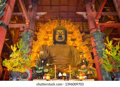1 JAN 2019 NARA, JAPAN - : The Great Buddha in Todai-ji temple  in Nara.  the world's largest bronze statue of the Buddha Vairocana (Daibutsu)
