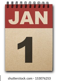 1 January calendar on recycle paper
