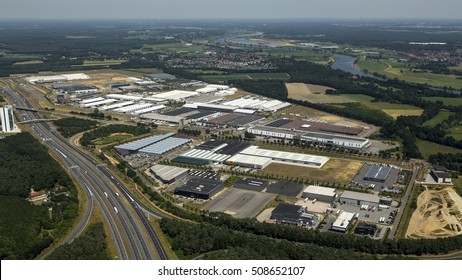 1 July 2015, Venlo, Netherlands. Aerial view of Fresh Park and Flora Trade Park along highway A73. It is a Fresh & Food business park together with  a mall for florists and garden centres.