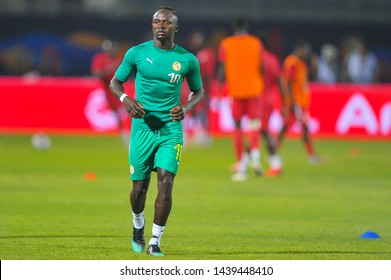 1 July  2019, Egypt, Cairo:  Senegal's Sadio Mane warms up ahead of the African Cup of Nations 2019 African Nations Cup  match between Senegal and Kenya on June 30.