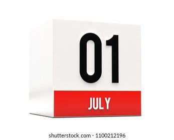 1 july on calendar cube and white background 3D render