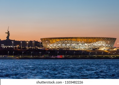 1 June, 2018, Volgogard, Russia. Fotball stadium Volgograd arena, evening view from the other side of the Volga river.