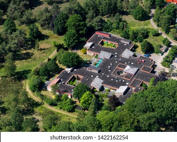 1 June 2019, Den Dolder, Holland. Aerial view of psychiatric hospital TBS Kliniek Forensische Psychiatrische Afdeling Utrecht. It is a prison, asylum, clinic. Most notorious inmate was Michael P.