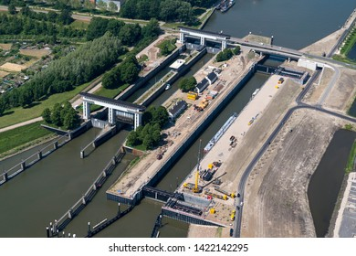 1 June 2019, Nieuwegein, Holland. Aerial view of builder Heijmans construction site at lock Prinses Beatrixsluis near Utrecht. The sluice in the canal Amsterdam-Rijnkanaal will be finished in 2019.
